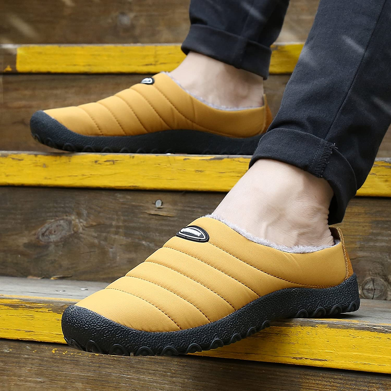 UBFEN Chaussons Maison pour Femme Homme Hiver Peluche Pantoufles Densit/é Chaude Int/érieur Ext/érieur en Laine comme Doublure Anti-d/érapant Chaussures