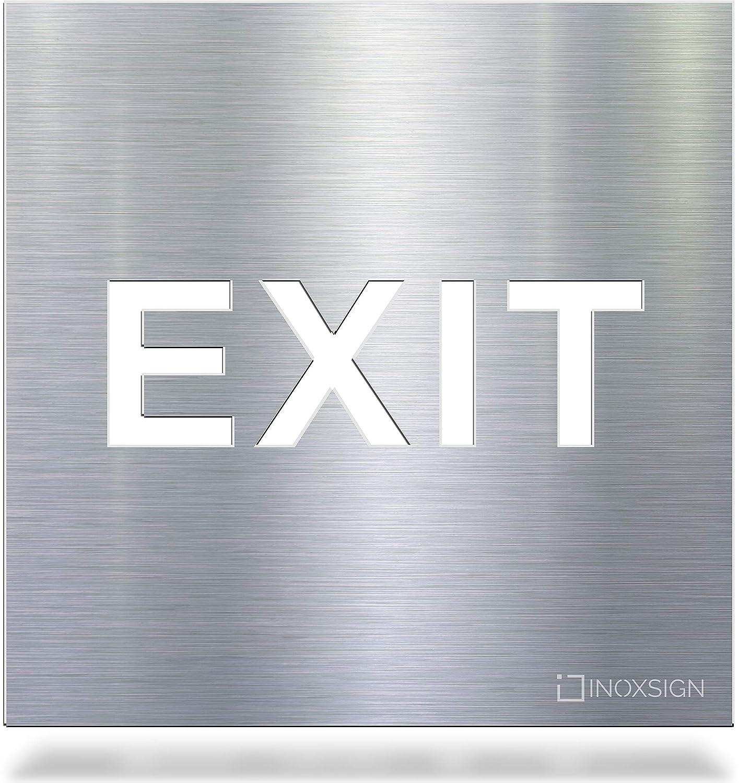 Se/ñal de Aviso autoadhesiva de Acero Inoxidable INOXSIGN Exit H.81.E claramente Visible y Montaje sin Herramientas Fabricado en Alemania Salida de se/ñal de Advertencia