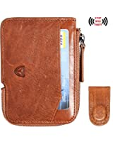 Slim Wallet with Zipper RFID Sleeves Front Pocket Minimalist Wallet Card Holder