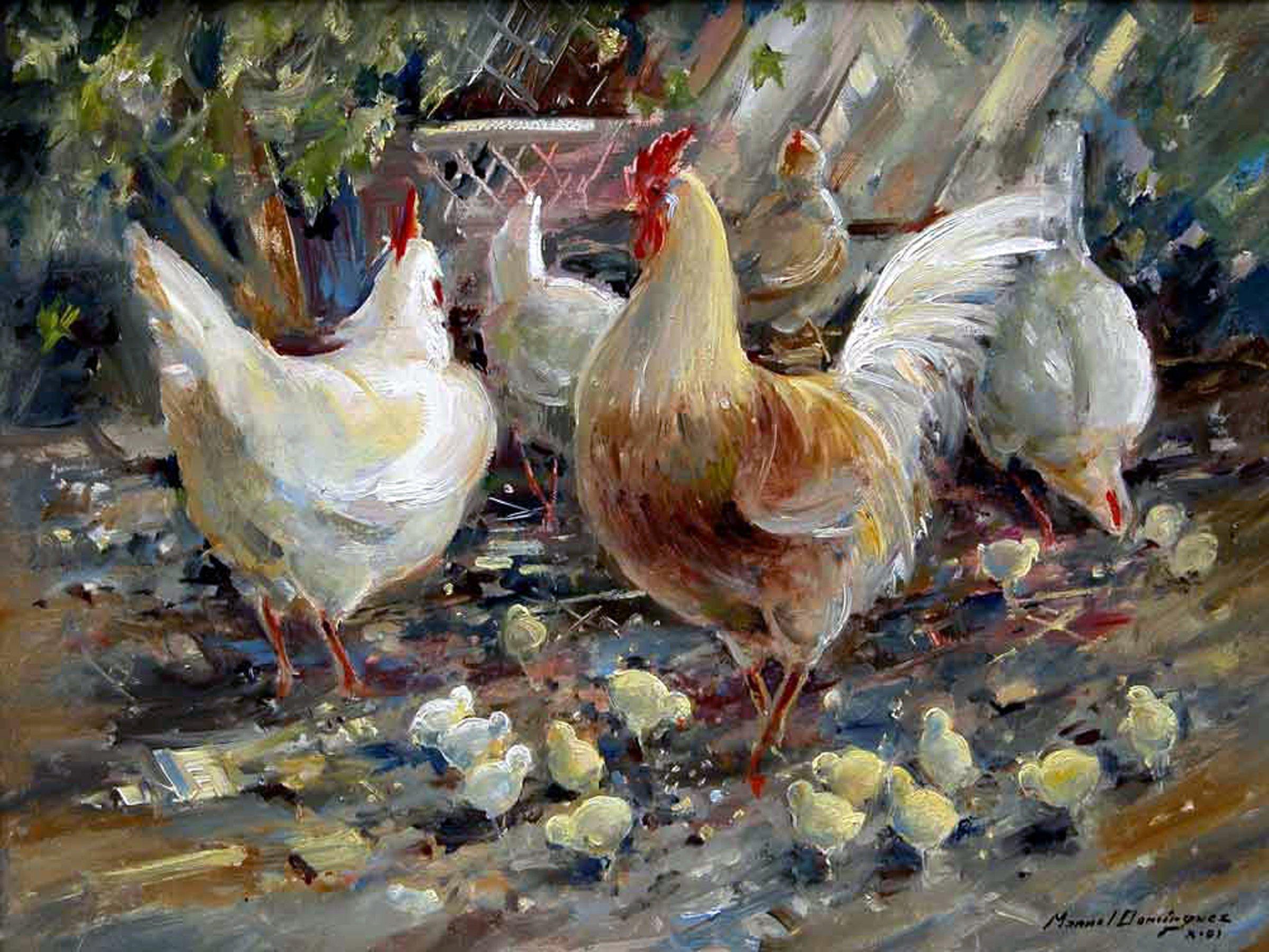 Rooster and hens by Manuel Dominguez Accent Tile Mural Kitchen Bathroom Wall Backsplash Behind Stove Range Sink Splashback One Tile 8''x6'' Ceramic, Glossy by FlekmanArt