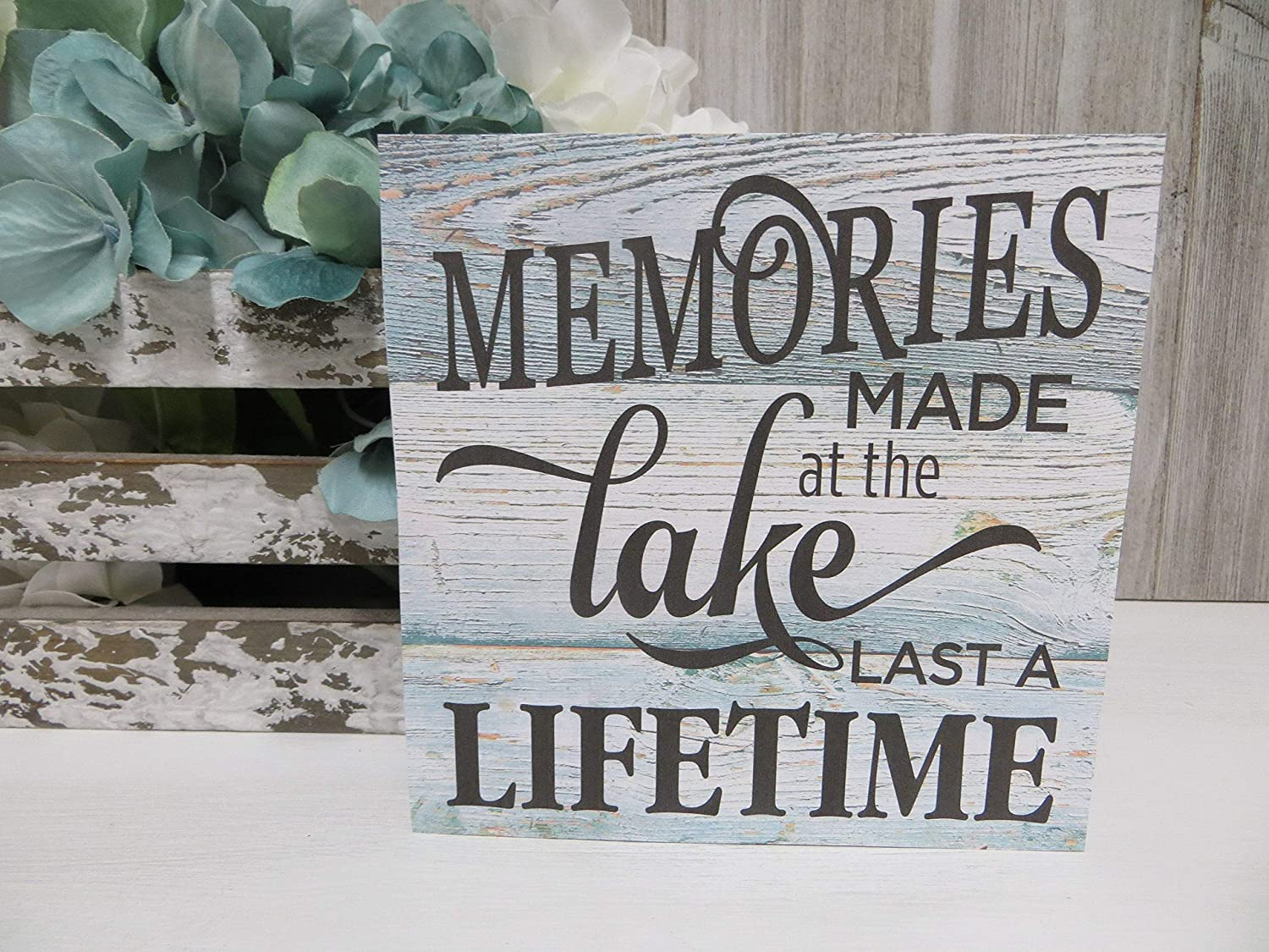 Rustic Wooden Plaque Wall Art Hanging Sign Wood Lake Sign, Memories at The Lake Last A Lifetime, Lake House Sign, Lake House Decor, Lake Lover Gift, Lake House Wood Sign 12