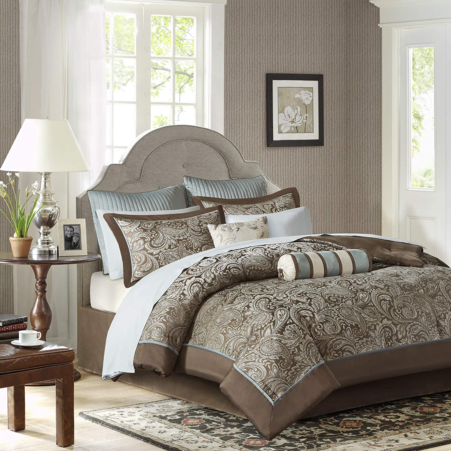 Amazon.com: Madison Park Aubrey Queen Size Bed Comforter Set Bed