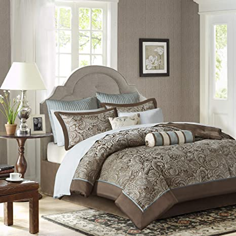 madison park aubrey queen size bed comforter set bed in a bag blue brown paisley jacquard 12 pieces bedding sets ultra soft microfiber