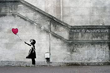 Poster Banksy Art Balloon girl Wandbild Dekoration There is always hope Banksy Girl with Balloon banksi street style stencil | Wandposter Fotoposter Wanddeko Wandgestaltung by GREAT ART (140 x 100 cm)