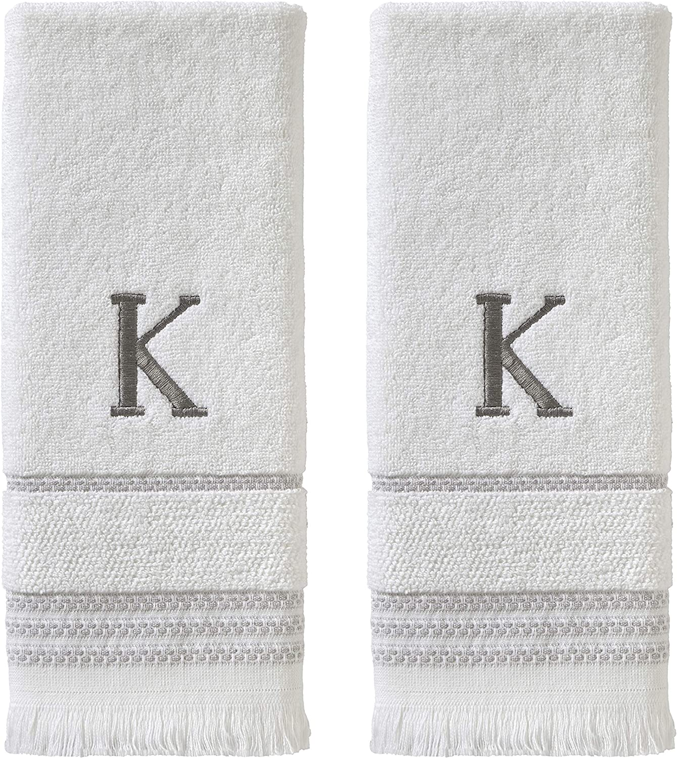 SKL HOME by Saturday Knight Ltd. Casual Monogram Hand Towel Set, K, 16x26, White 2 Pack