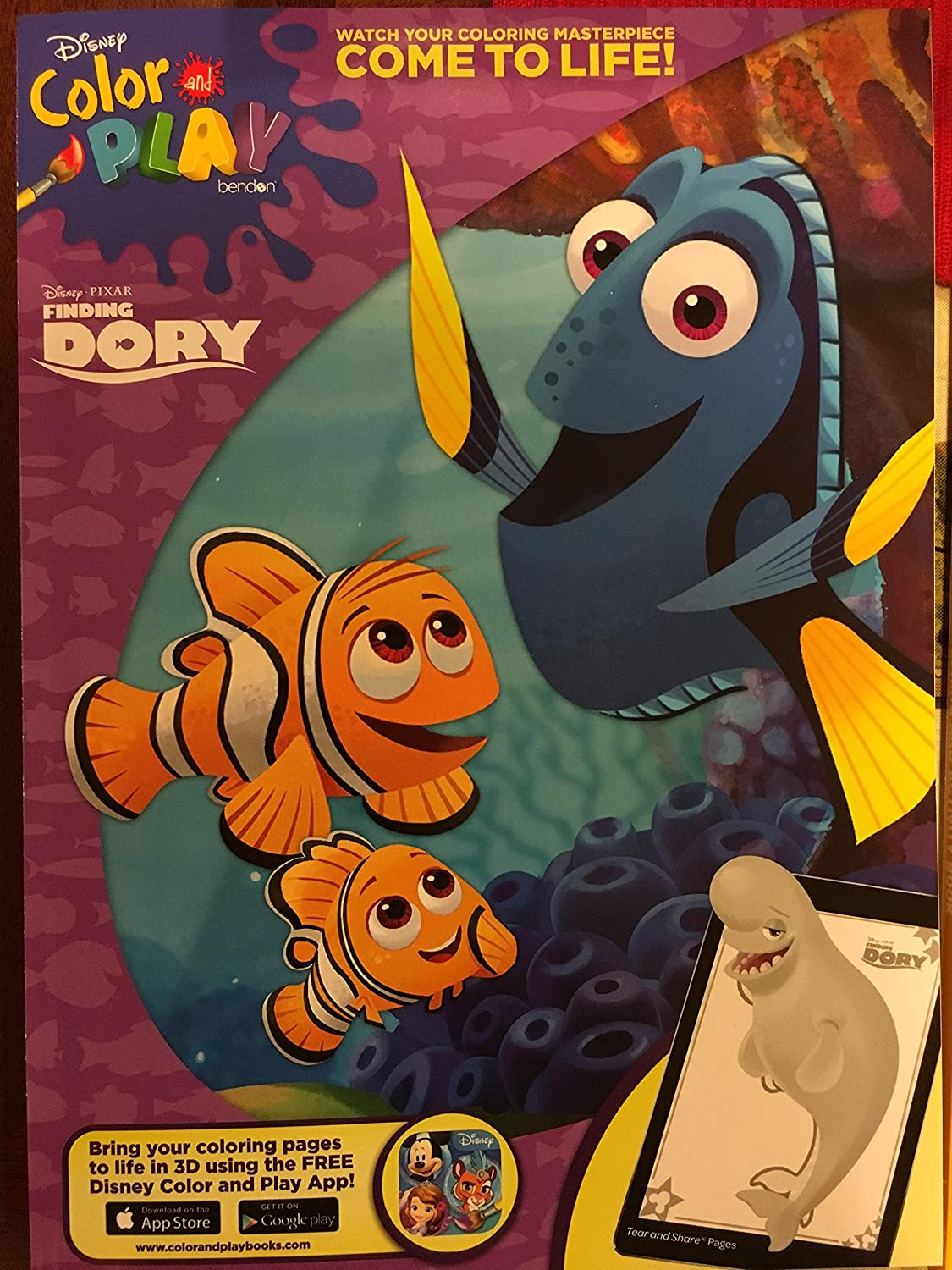 Disney velvet coloring posters - Amazon Com Disney Color Play Finding Dori Coloring Book 2 Pack Office Products
