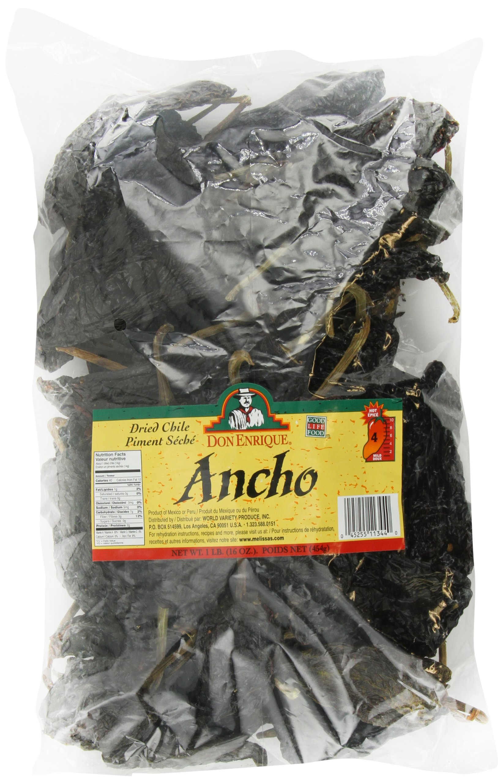 Melissa's Don Enrique Dried Chile Ancho Pasilla 16-Ounce Bag, Dried Ancho Chiles for Spicing and Garnishing in Cooking and Baking, Mildly Hot Dried Chiles, 3-5 out of 10 Heat