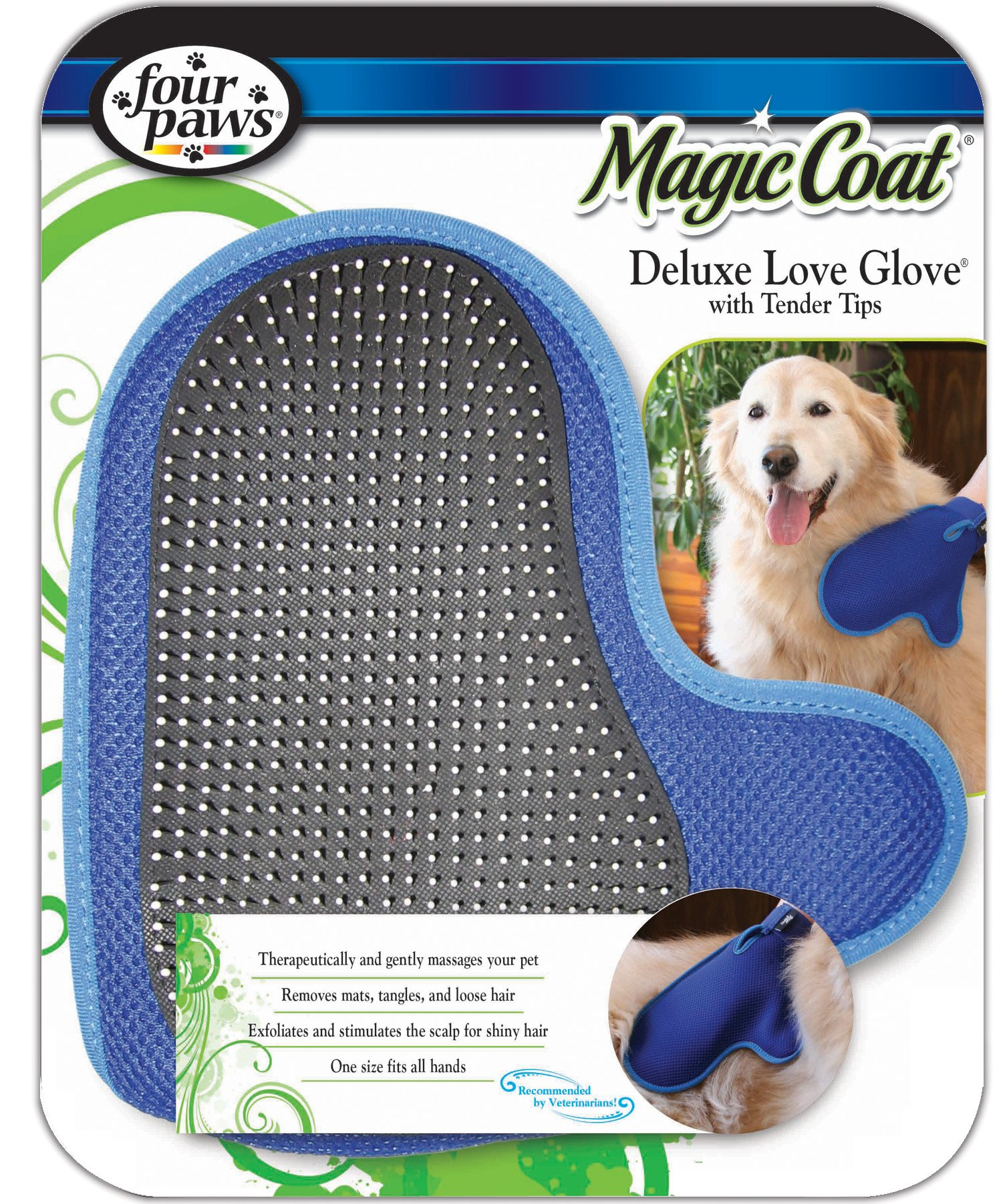 Four Paws Magic Coat Dog Grooming Deluxe Love Glove With Tender Tips