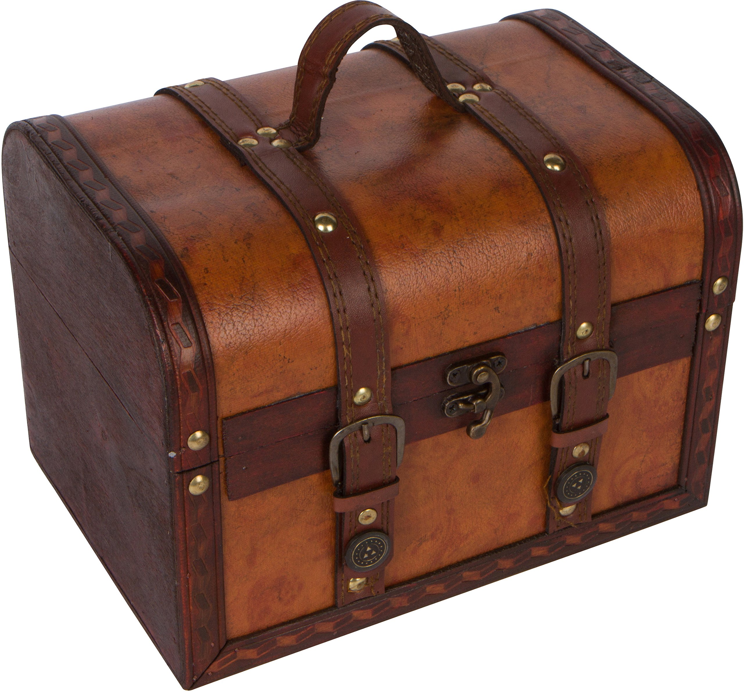 Trademark Innovations 10'' Wood and Leather Decorative Chest by Trademark Innovations