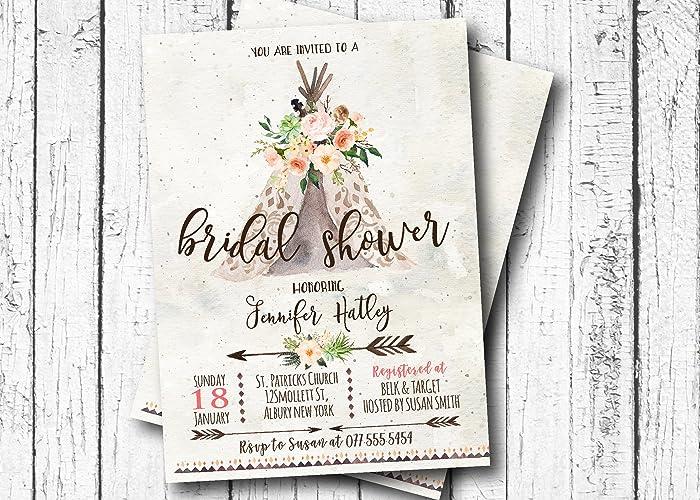 Amazon boho teepee bridal shower invitation flower baby shower boho teepee bridal shower invitation flower baby shower invitation bohemian arrow aztec filmwisefo
