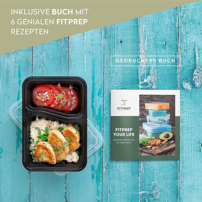 inkl FITPREP/® 2-Fach Meal Prep Container -10 Pack sch/önem Rezeptheft f/ür Meal Prep empfohlen