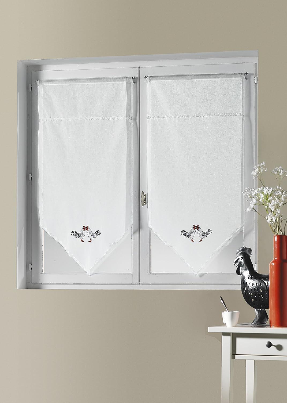 HomeMaison - Coppia di tende a vetro in voile di cotone con motivo ...