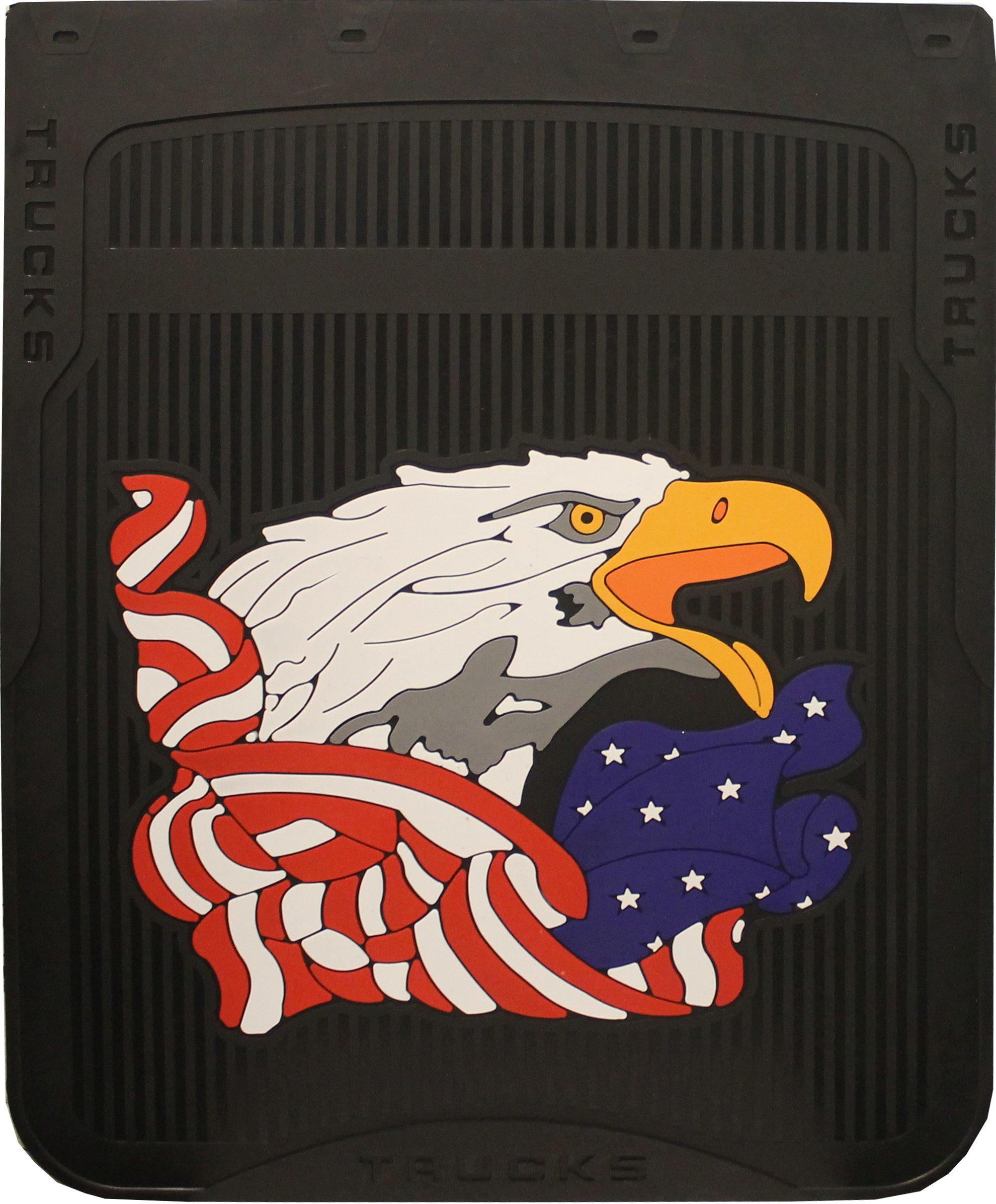 mr dc Black 24 Inches x 30 Inches Patriotic American Eagle Fiberglass Reinforced Rubber Semi Truck Mud Flaps- Pair