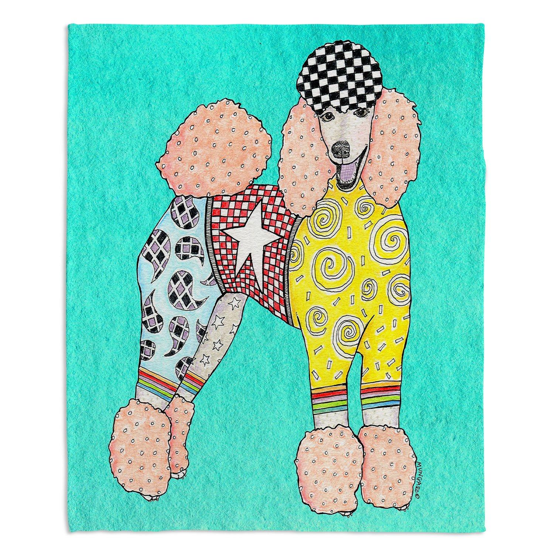 ブランケットウルトラソフトFuzzy 4サイズダイアノウチェデザインズ – Marley Ungaroプードル犬ターコイズホーム装飾寝室ソファスローブランケット Large 80