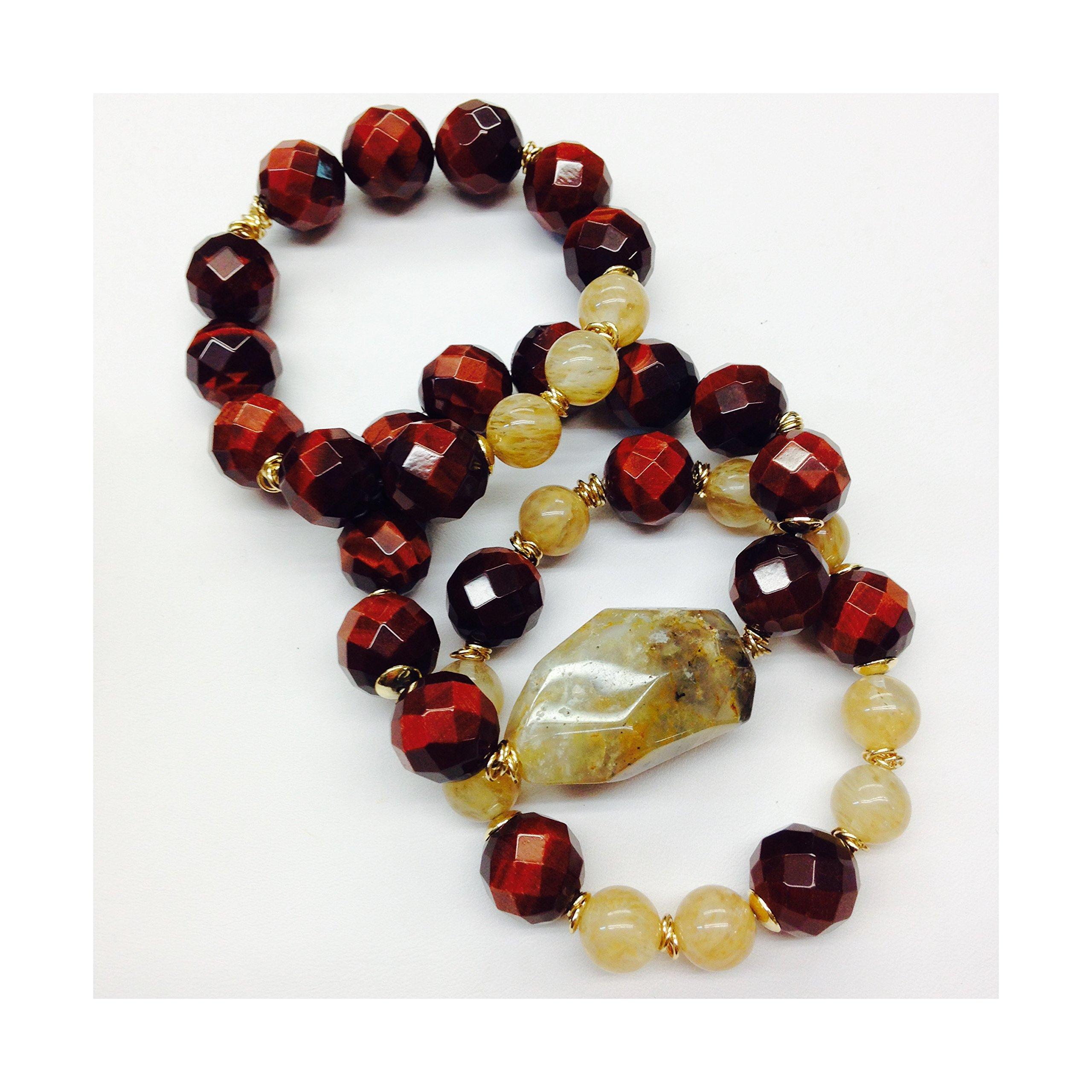 Set of 3 Handmade Bracelets - Red Tiger Eye, Amber Quartz & Citrine Natural Stones & Goldfilled Beads by Formula Moda