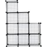 C&AHOME Metal Wire Storage Cubes, DIY 9-Cube Closet Black and Toys Shelving Grids, Wire Mesh Bookcase Shelves or Shoe Rack, Black