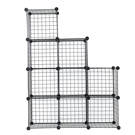 Cu0026AHOME Metal Wire Storage Cubes, DIY 9 Cube Closet Black And Toys Shelving  Grids