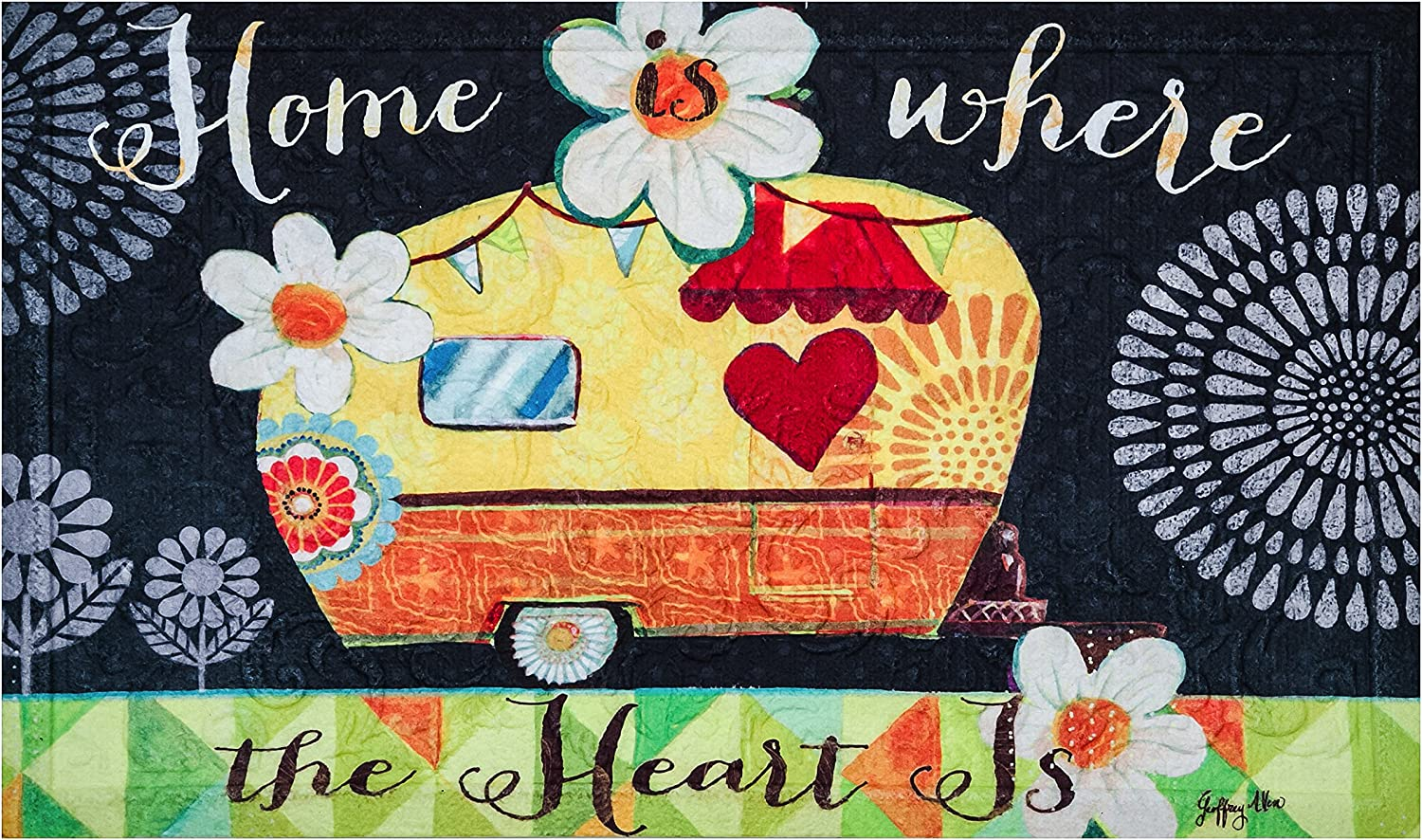 Evergreen Home is Where The Heart is Embossed Floor Mat, 18 x 30 inches