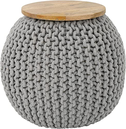 Christopher Knight Home Irene Boho Knitted Ottoman, Gray, Natural