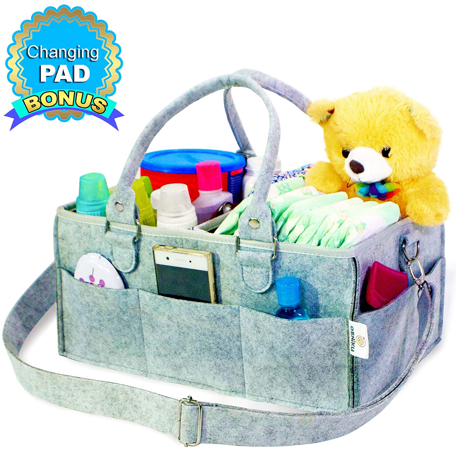 Baby Diaper Caddy by Orniku This Nursery Tote Bag is Portable and Best as Car Travel Organizer Works for Boys or Girls as Storage Bin and Great for Changing Table and as Shower Gift Basket for Babies