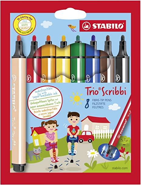 Feutre A Coloriage En Anglais.Feutre De Coloriage Stabilo Trio Scribbi Etui Carton De 8