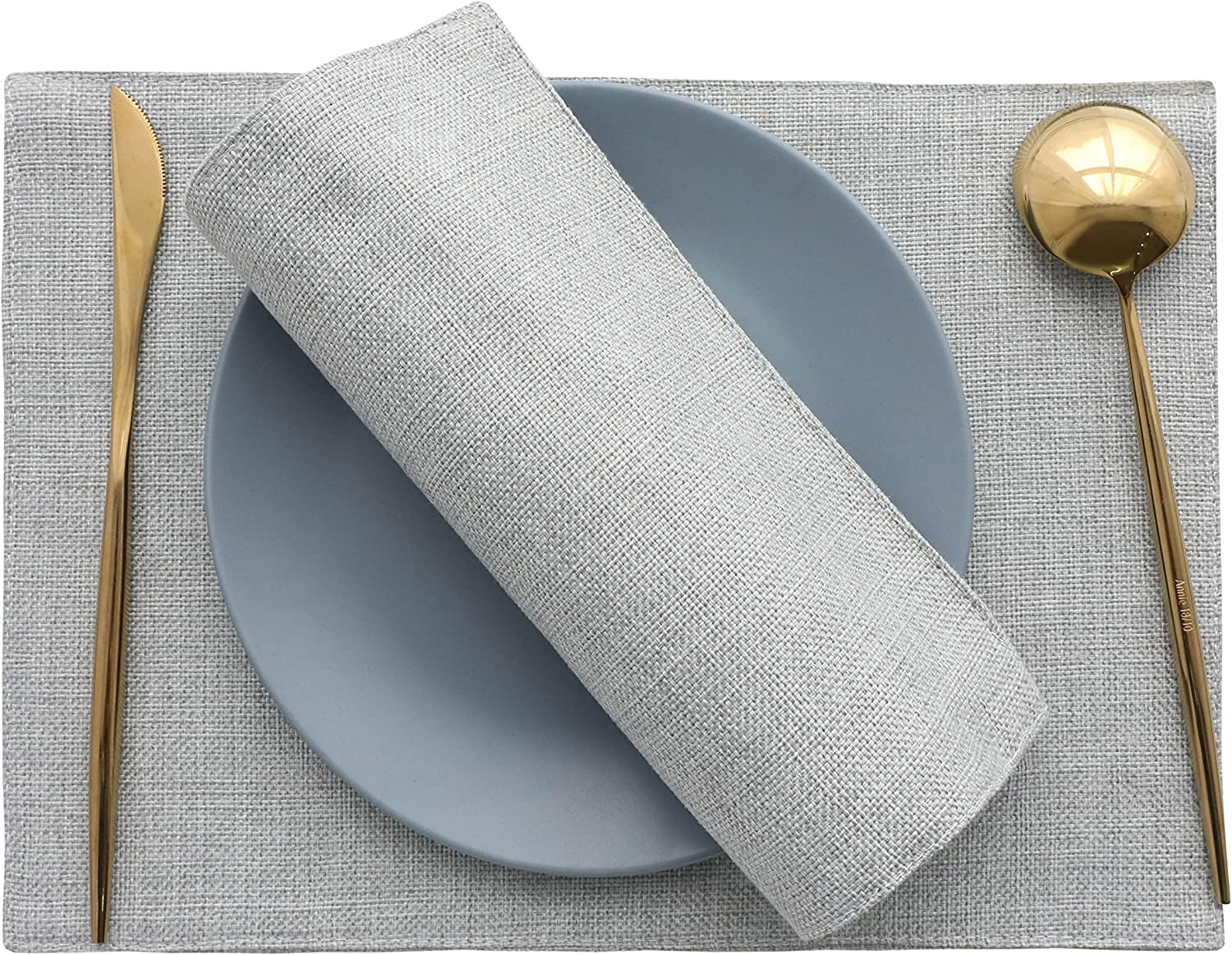 HOME BRILLIANT Placemats Set of 4 Heat Resistant Washable Placemats for Parties Buffet Dinner, 13 x 19 inches, Light Grey