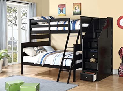 Amazon Com Acme Furniture 37365 Alvis Bunk Bed With Storage Ladder