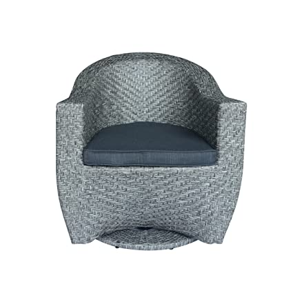Great Deal Furniture Koch Outdoor Wicher Swivel Chair, Mixed Black And Dark  Gray