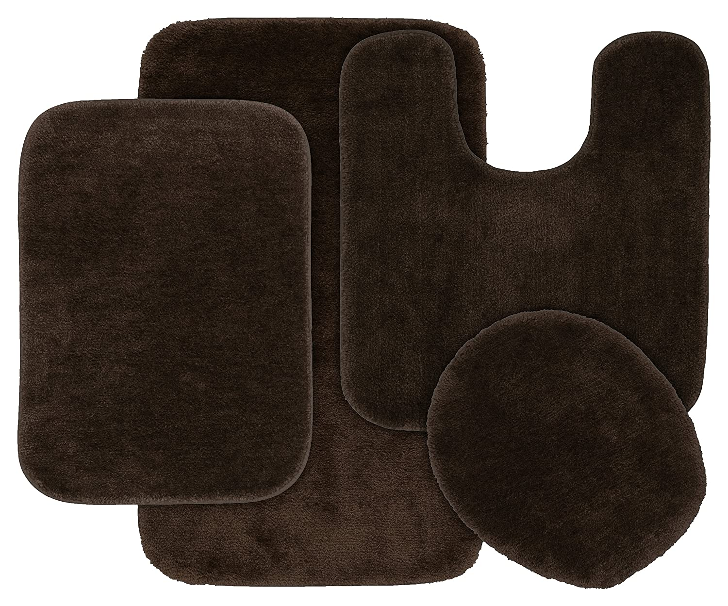 Garland Rug BA010W4P15J5 Traditional Bath Rug Set, 4-Piece, Chocolate