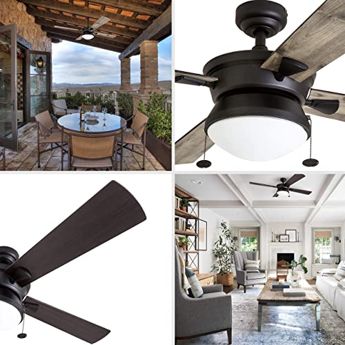 Prominence Home 50345-01 Auletta Outdoor Ceiling Fan, 52 ETL Damp Rated 4 Blades, LED Frosted Contemporary Light Fixture, Matte Black