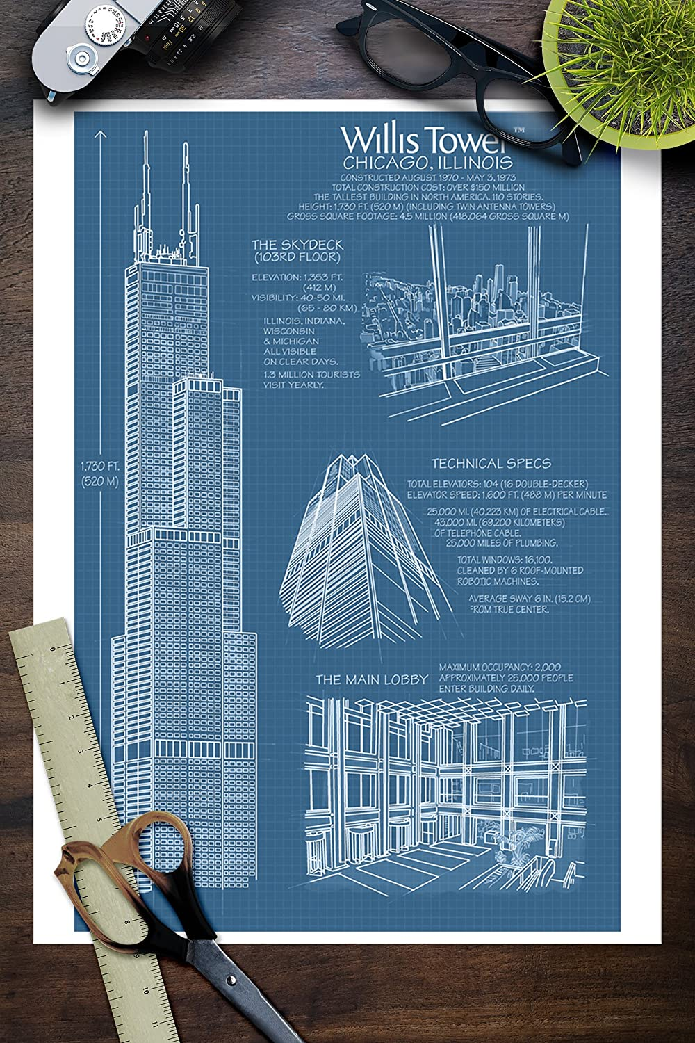 Amazon.com: Willis Tower Blue Print - Chicago, IL (9x12 Art Print ...