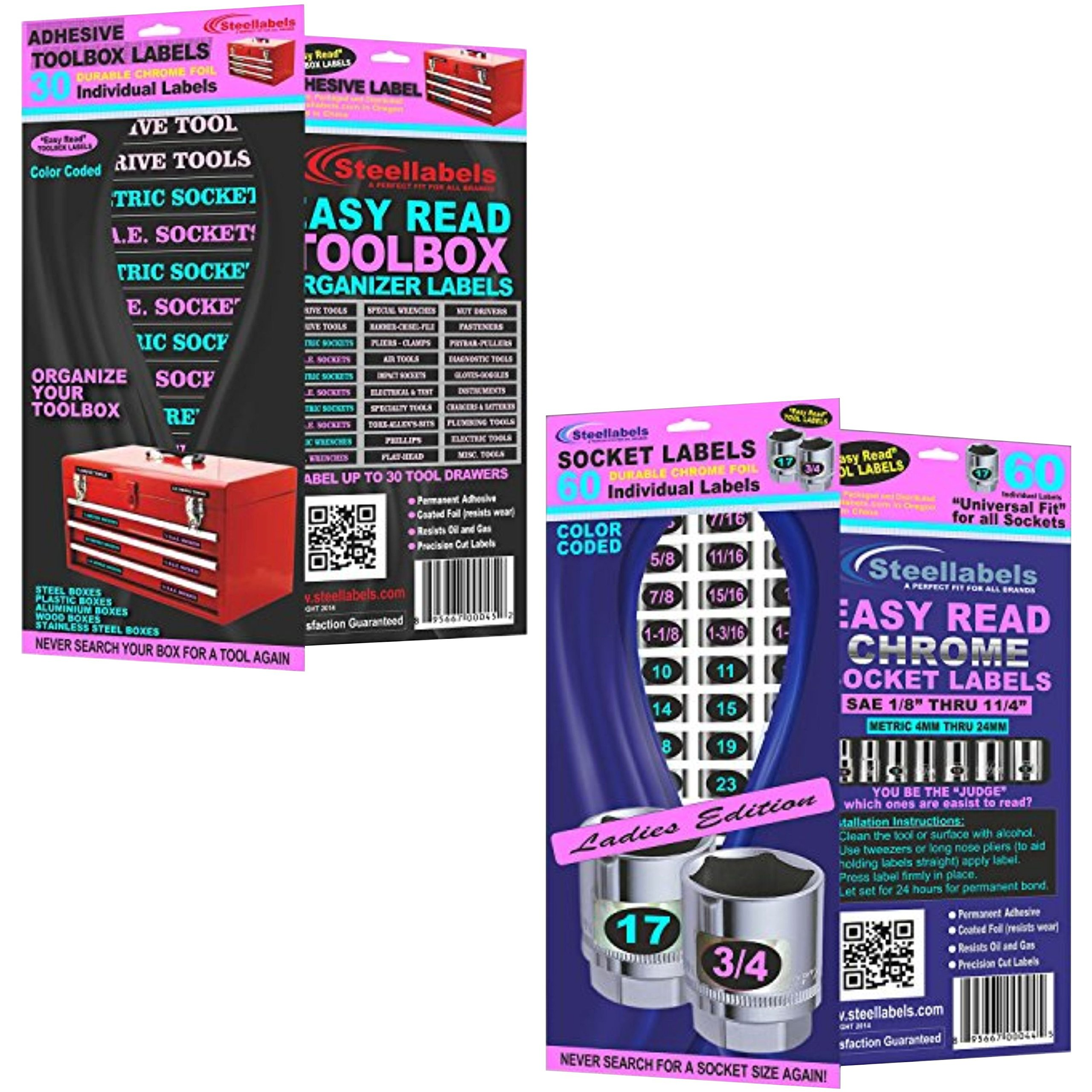 Steellabels -''Think Pink'' Ladies Combo Deal - 1 set of Craft Drawer Labels, 1 set Adhesive Toolbox Labels, 2 sets of Chrome Foil Socket Labels and 2 sets of Assembly Labels,''makes a perfect gift''