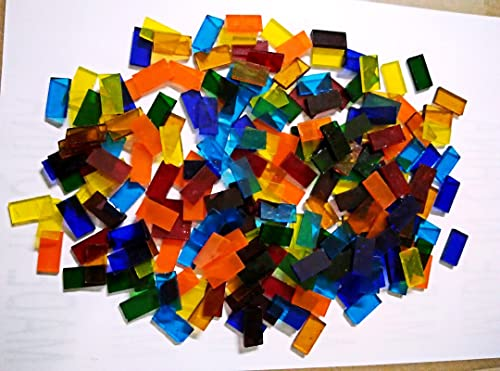 LDGJ 300g Pack Transparent Bright Mixed Color Tumbled Stained Glass Mosaic Tiles Home Decoration ZA9