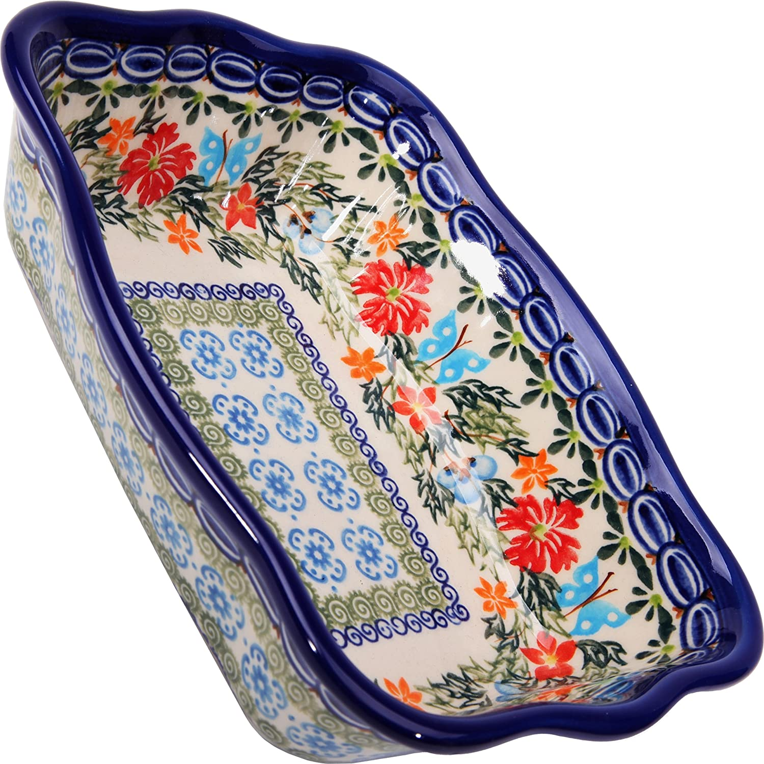 Polish Pottery Ceramika Boleslawiec Fala Baker Small, 7-3/4-Inch by 6-1/8-Inch, 3 Cups, Royal Blue Patterns with Red Cornflower and Blue Butterflies Motif Lidia's Polish Pottery Inc. 1208-238