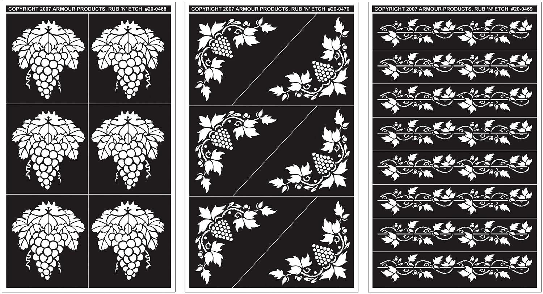 Rub 'N' Etch Designer Stencils 5x8 3/Pkg-Grape Designs Armour Products 27123819