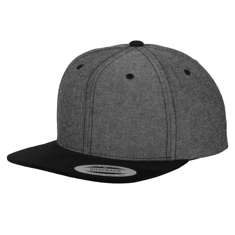 Amazon.com  Yupoong Flexfit Unisex Chambray-Suede Snapback Cap (One Size)  (Black Black)  Clothing 82b885d170e