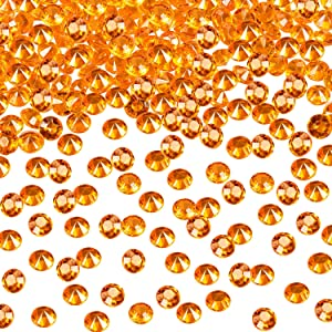 10000 Clear Wedding Table Scatter Confetti Crystals Acrylic Diamonds Rhinestones for Table Centerpiece Decorations Wedding Decorations Bridal Shower Decorations Vase Beads (Orange, 4.5 MM)