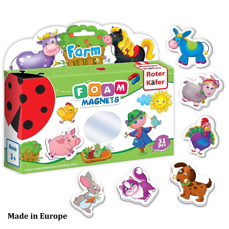 Refrigerator Magnets for Toddlers – Toddler Magnets – Animal Magnets – Refrigerator Magnets for Kids – Baby Magnets – Kids Magnets – Fridge Magnets for Toddlers Kids – Magnetic Animals Learning Set Roter Kafer
