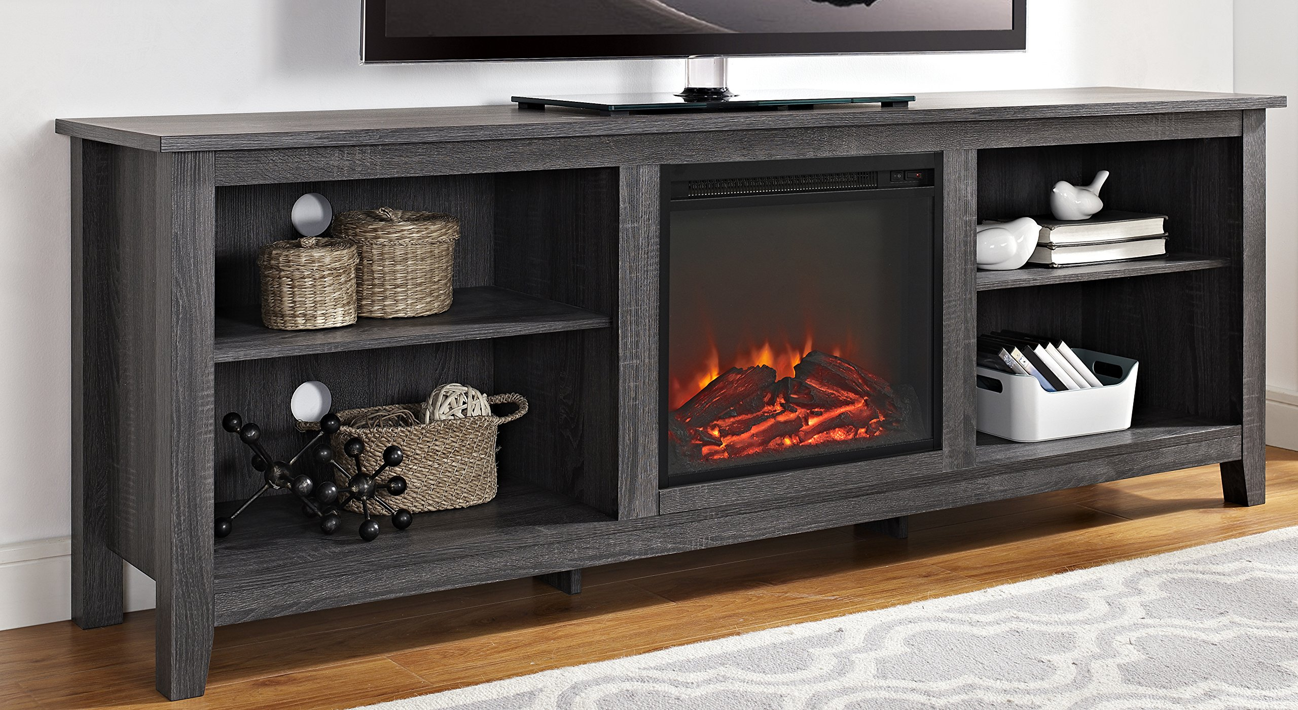 WE Furniture 70'' Wood Media TV Stand Console with Fireplace - Charcoal