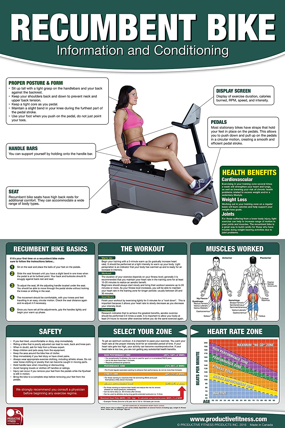 1773290355 Recumbent Bike Poster/Chart; Recumbent Bike Poster - Exercise Bike - Stationary Cycle - Laid Back Bike Poster - Stationary Bike Chart - Workout Poster - Cardio Cachine Poster - Cardio Bike Poster 91ecks15swL