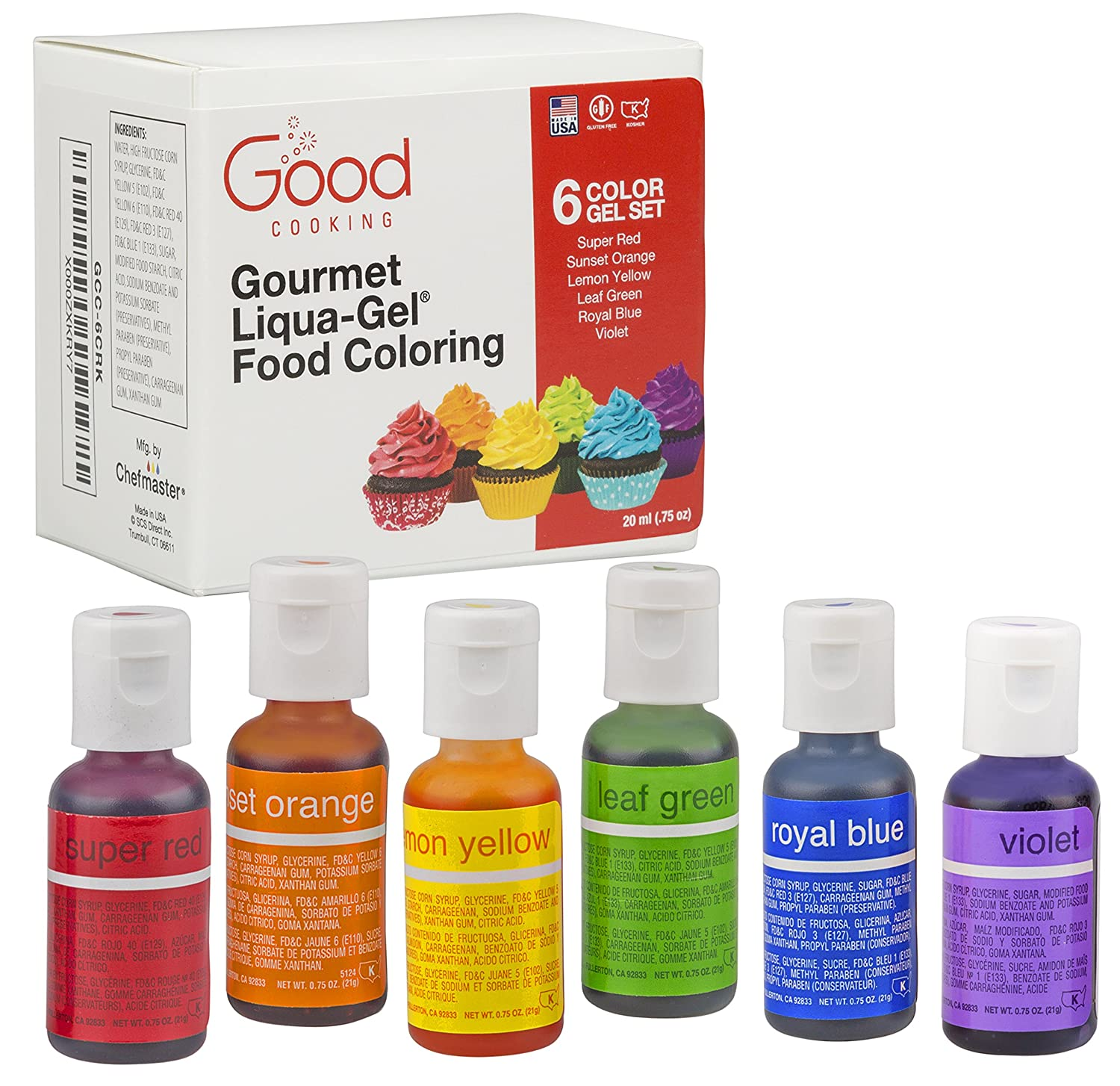 Food Coloring Liqua-Gel - 6 Color Rainbow Kit in .75 fl. oz. (20ml)