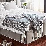 Amazon Brand – Rivet Chenille Knit Tassel Throw Blanket - 80 x 60 Inch, Grey