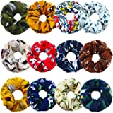 Aneco 12 Pieces Chiffon Hair Scrunchies Women's Flower Hair Scrunchies Hair Bobbles Chiffon Ponytail Holder, 12 Style