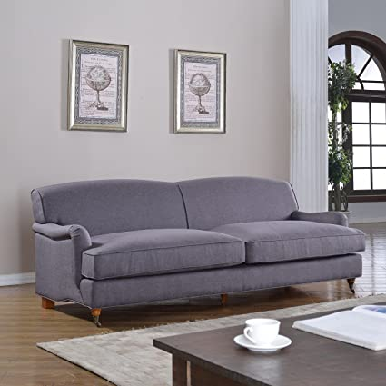 Mid Century Grey Modern Sophisticated Large Linen Fabric Sofa with Casters  (Light Grey)