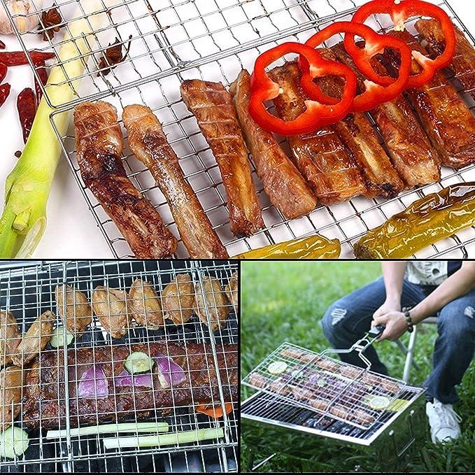 Aisaving Parrilla para Barbacoa Portátil para Barbacoa o asado, de Acero Inoxidable, Plegable, con Mango de Madera para Pesca, Verduras, Vapor, Camarón, ...