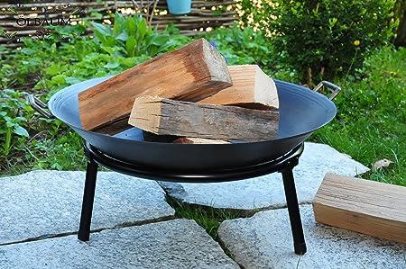 Oelbaum Massive Stahl-Grill Feuerschale aus Gusseisen mit 2 Griffen + Standring, LEICHT+STABIL mit 4 Grillspieße