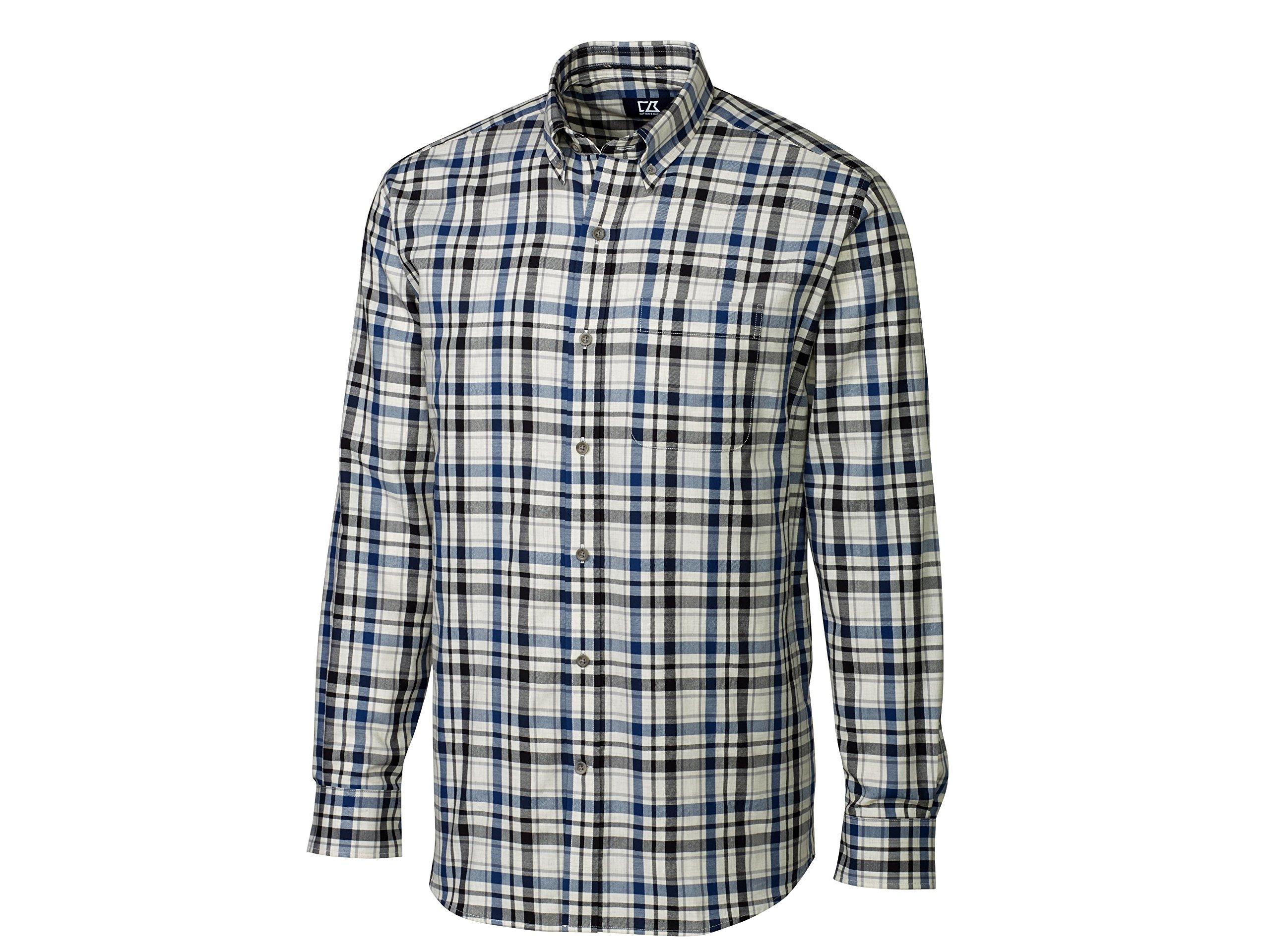 Cutter & Buck Men's Big-Tall Long Sleeve Roy Plaid Woven Shirt, Multi, 3X/Big