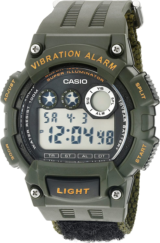 Casio Men s Super Illuminator Quartz Green Casual Watch Model W735HB-3AV