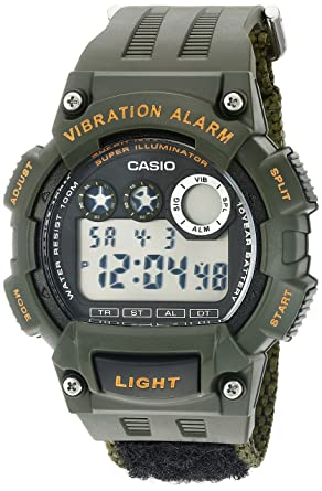 Casio Mens Super Illuminator Quartz Green Casual Watch (Model: W735HB-3AV)