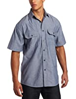 Key Apparel Men's Pre-Washed Blue Chambray Work Shirt, Short Sleeve